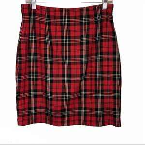 Vintage Limited red plaid knee length skirt size10